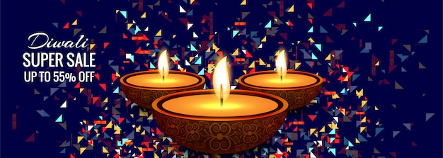 Diwali super sale colorful banner design vector