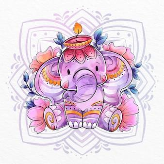 Diwali watercolor elephant illustration