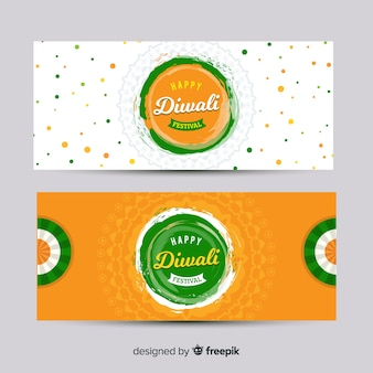 Diwali web banner collection with flat design