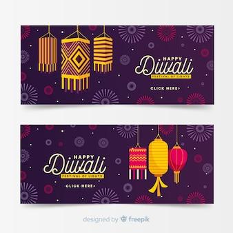 Diwali web banners in flat design