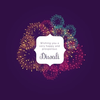 Diwali wishes greeting card design with colorful fireworks