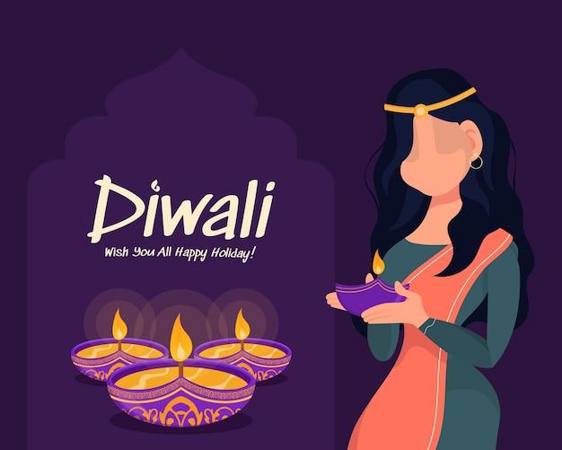 Женщина дивали, держащая масляную лампу, праздник дивали на фиолетовом фоне, поздравительную открытку празднования дивали, вектор.