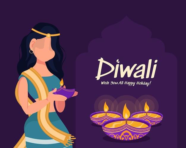Diwali woman holding oil lamp, diwali holiday on purple background, diwali celebration greeting card,vector.