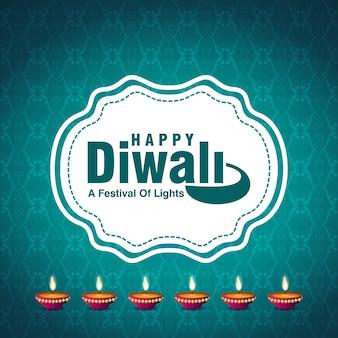 Голубой фон с дизайном diwali и вектором типографии