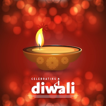 Дизайн коричневого фона diwali и вектор типографии