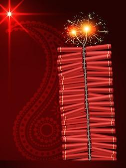 Diwali фестиваль крекеры на художественном красном фоне