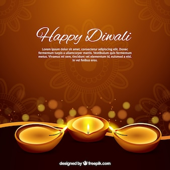 Diwaliキャンドルと茶色の背景