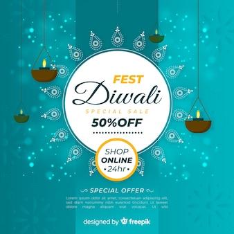 Рекламный баннер diwali в плоском дизайне