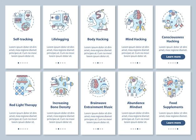 概念を設定したdiy生物学オンボーディングモバイルアプリのページ画面。バイオハッキングの要素とテクニックのウォークスルー5つのステップのグラフィックの説明。 rgbカラーイラストのuiテンプレート