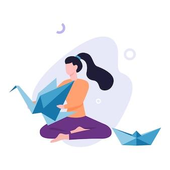 Diyのコンセプトです。女性と折り紙鳩。クラフトワーク