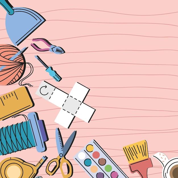 Diy and craft tools cartoon background