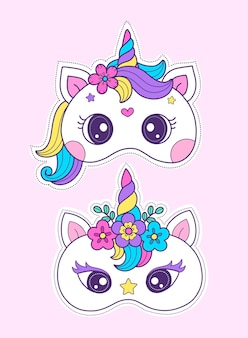 Diy craft unicorn mask printable mask template for complete costume and unicorn birthday party