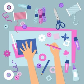 Illustrazione di laboratorio creativo fai da te