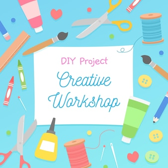 Diy creative workshop illustration