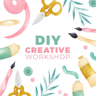 Diy creative workshop with brushes and paint