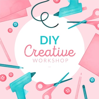 Diy creative workshop with glue guns and scissors