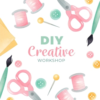Diy creative workshop with scissors and thread