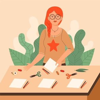 Diy творческая мастерская с женщиной и канцелярскими товарами