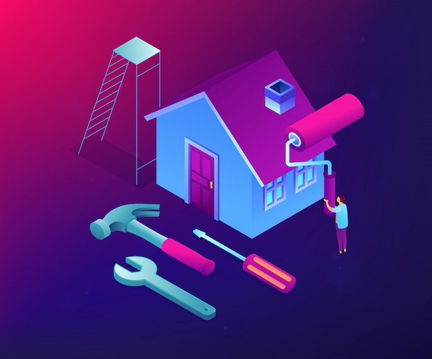Diy repair concept isometric illustration.