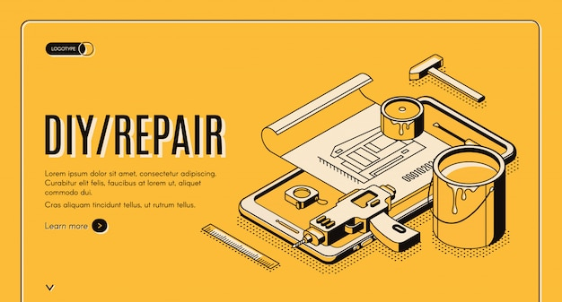 Diy repair isometric banner engineering tools