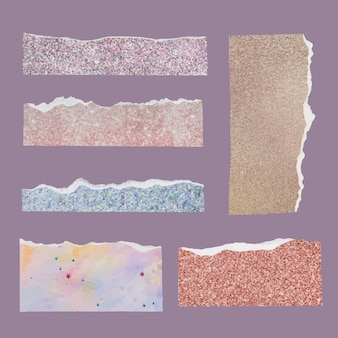 Diy ripped paper craft vector in glittery style set