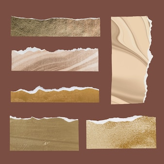 Diy ripped paper craft vector in marble art style set
