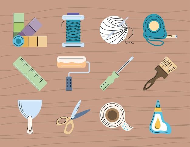 Инструменты для рукоделия кисть игла ножницы
