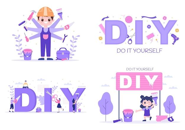 Инструменты diy сделай сам фоновая иллюстрация для ремонта дома и творческих проектов