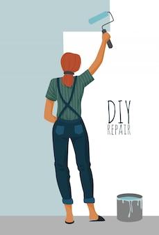 Diyの修理。ペイントローラーで壁を塗る女性。かわいいベクターイラストです。