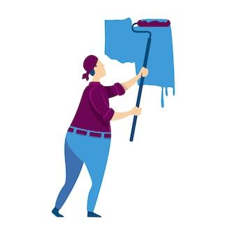 壁の塗装色の顔のないキャラクター。ローラー付き職人。青色の塗料を置く便利屋。ハウスキーピングdiy。インテリア改修。家の修理漫画イラスト