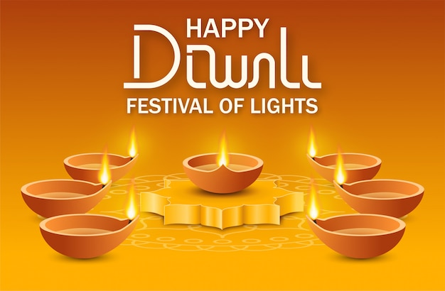 Diya oil lamp on podium and many of lamps around on yellow background with rangoli and text lettering happy diwali festival of lights. concept indian holiday deepavali