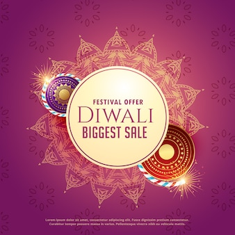 Diya sale background with crackers and mandala decoration