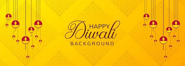 Diyaの装飾が施された美しいディワリ祭バナー