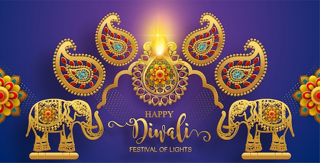 ディワリ、ディーパバリまたはディパヴァリゴールドdiyaのパターンと紙の色の背景に結晶とインドの光のお祭り。