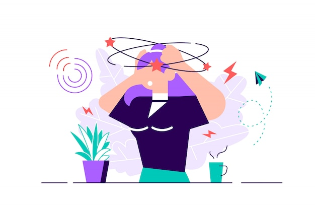 Dizziness vector illustration. flat tiny dizzy head feeling person concept. confusion motion