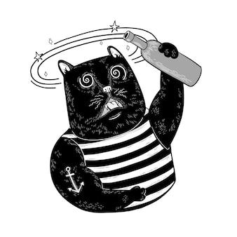한 병의 알코올과 현기증이 있는 어지러운 검은 고양이 조끼와 닻이 있는 고양이 선원