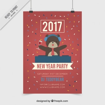 Dj bear new year funny poster