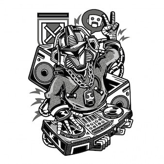 Dj beats robot black and white illustration