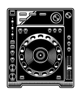 Dj cdプレーヤーのイラスト。白の背景に黒と白。