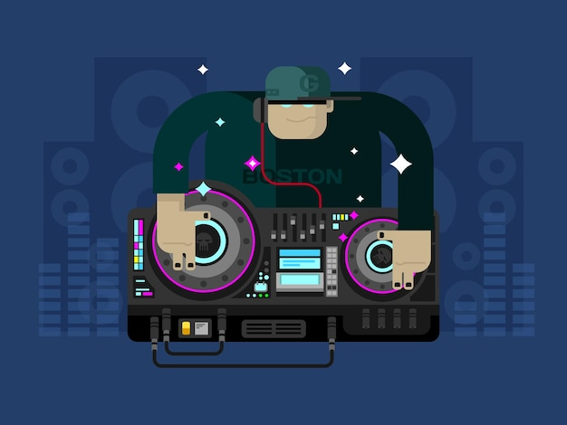 Dj character music party and sound audio disco musical entertainment flat vector illustration