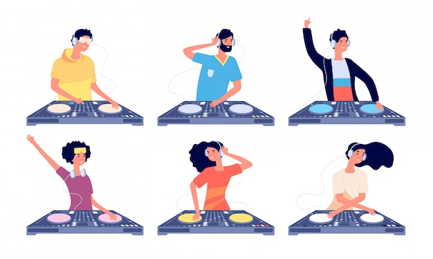 Dj characters. people with headphones and turntable mixer make contemporary music in club. dj guy spinning disc isolated vector set