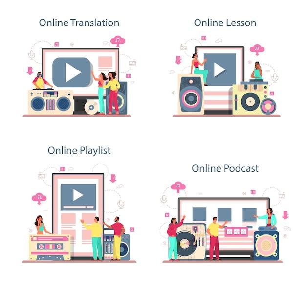 Djコンセプトのオンラインサービスまたはプラットフォームセット。翻訳、レッスン、ポッドキャスト、プレイリスト。ターンテーブルミキサーに立っている人はクラブで音楽を作ります。孤立したフラットベクトル図