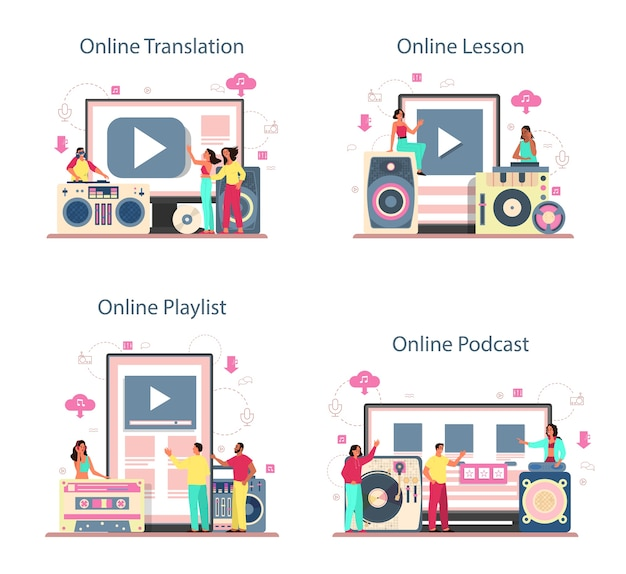 Dj concept online service or platform set. translation, lesson, podcast and playlist. person standing at turntable mixer make music in club. isolated flat vector illustration