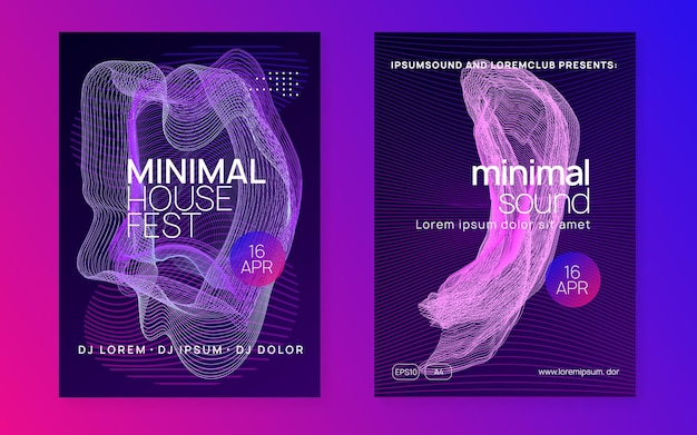 Dj event. digital discotheque invitation set. dynamic fluid shape and line. dj event neon flyer. techno trance party. electro dance music. electronic sound. club fest poster.