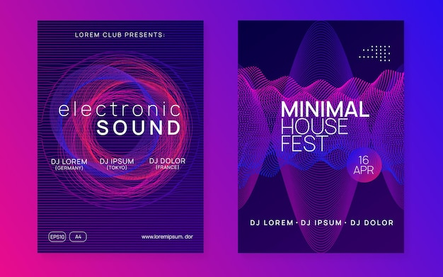Dj event. dynamic fluid shape and line. bright concert cover set. dj event neon flyer. techno trance party