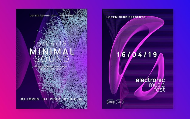 Dj event. dynamic fluid shape and line. minimal discotheque banner set. dj event neon flyer. techno trance party. electro dance music. electronic sound. club fest poster.