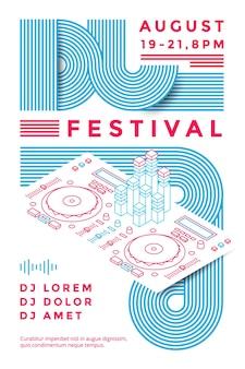 Шаблон дизайна плаката фестиваля ди-джеев. музыкальный флаер. векторная иллюстрация линии