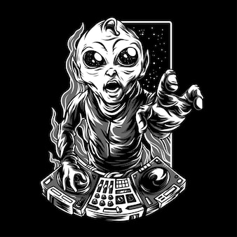 Dj galaxy black & white illustration