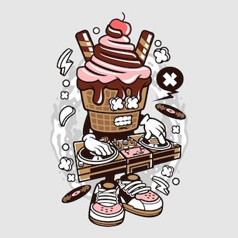 Диджейский мультфильм с мороженым