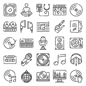 Dj icons set, outline style